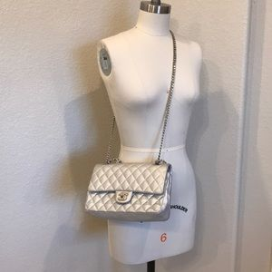 Limited Edition Silver Chanel Double Flap Bag
